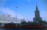 Image of a Tram passing in front of the Palace of Culture in Warsaw