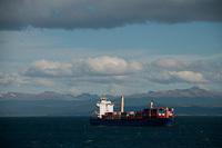 Image of a Containship in the Beagle Channel